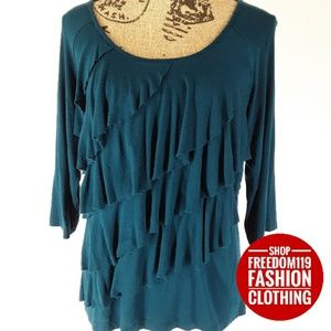 AGB | Teal Ruffle Layered 3/4 Sleeve Top (L)